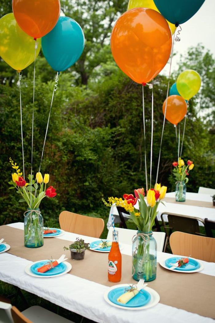 dekoideen gartenparty ballons tischdeko ideen