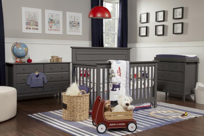 design bodenbelag holzboden wohnideen kinderzimmer sreifenteppich dunkle möbel