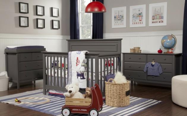 design-bodenbelag-holzboden-wohnideen-kinderzimmer-sreifenteppich-dunkle-möbel