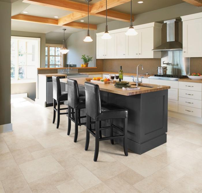 design bodenbelag küche schwarze kücheninsel