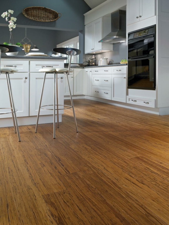 design bodenbelag wohnideen küche bambus bodenbelag weiße einrichtung