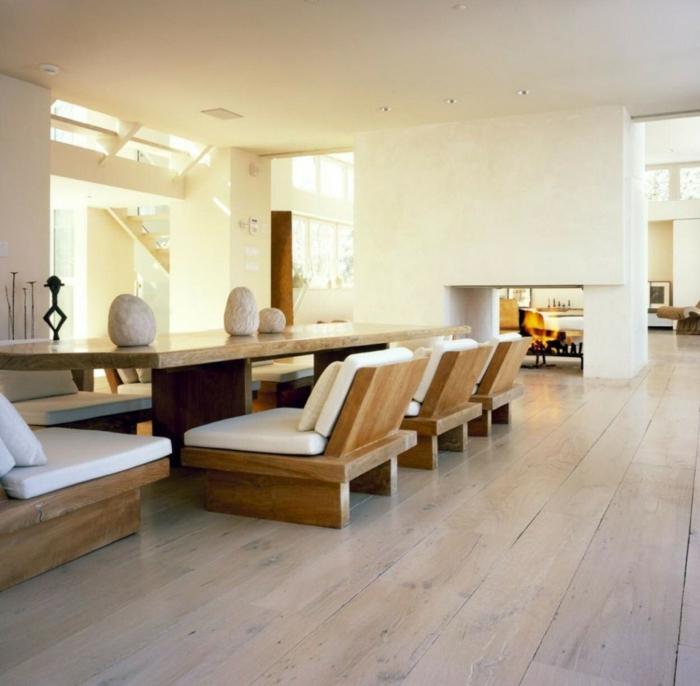 design bodenbelag wohnzimmer parkett minimalistisch steine
