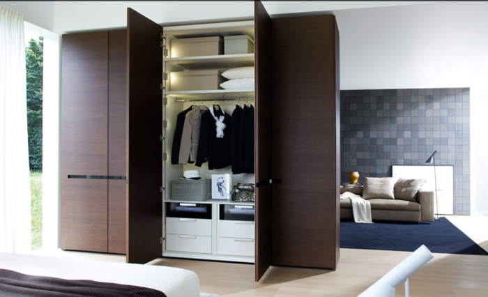 design kleiderschrank braun elegant zimmer trennen ideen