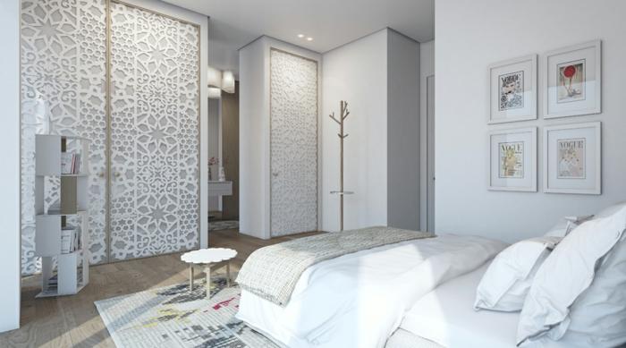 design kleiderschrank coole frontseite helles schlafzimmer regalsystem