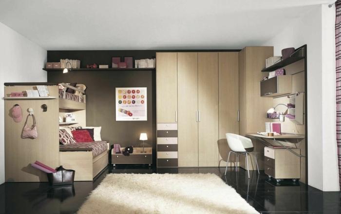 design kleiderschrank eckschrank dunkler bodenbelag weißer teppich jugendzimmer