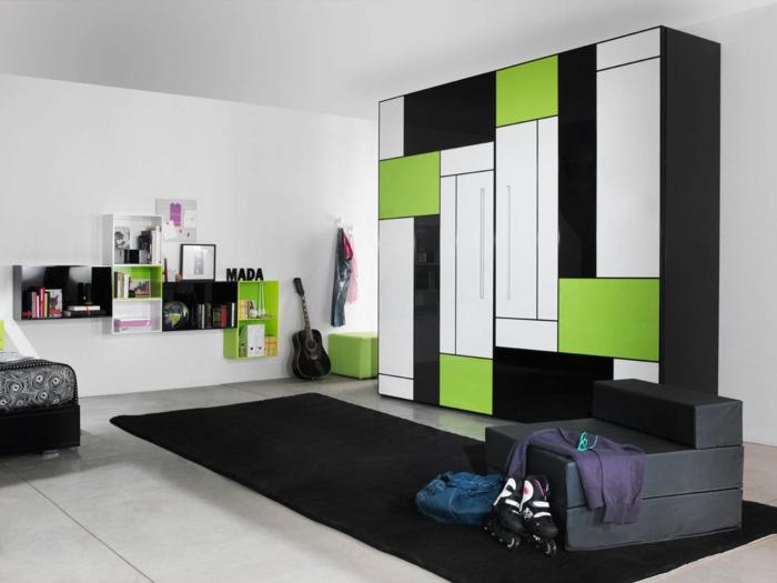 design kleiderschrank funktional modern schwarz grün schwarzer teppich