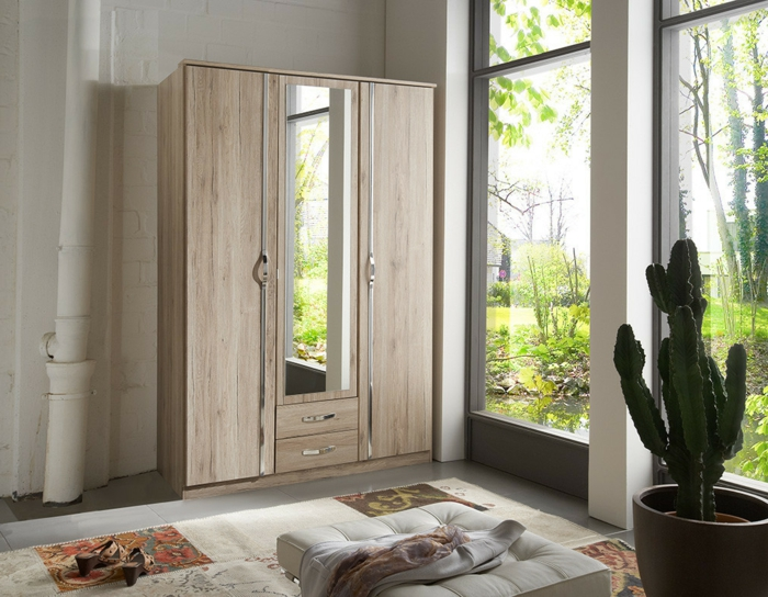 design kleiderschrank holz wohnideen schlafzimmer möbel spiegel