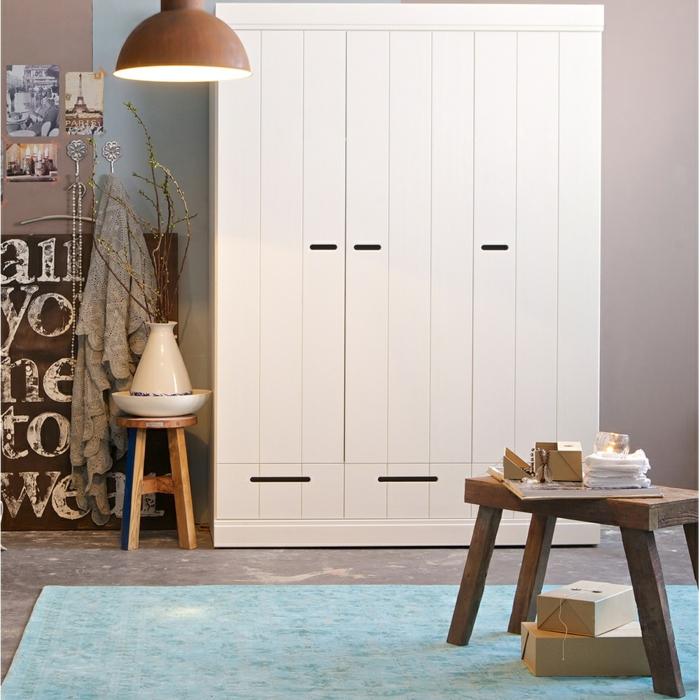design kleiderschrank kindermöbel elegant funktional blauer teppich