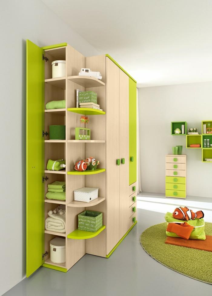 design kleiderschrank kinderzimmer einrichten ideen farbige möbel