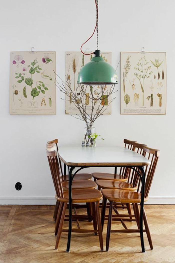 design leuchten essbereich grüner lampenschirm wanddeko