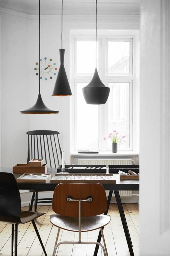 design leuchten hängelampen schwarz weiße wände