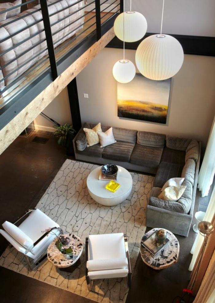 design leuchten hängelampen wohnzimmer ecksofa
