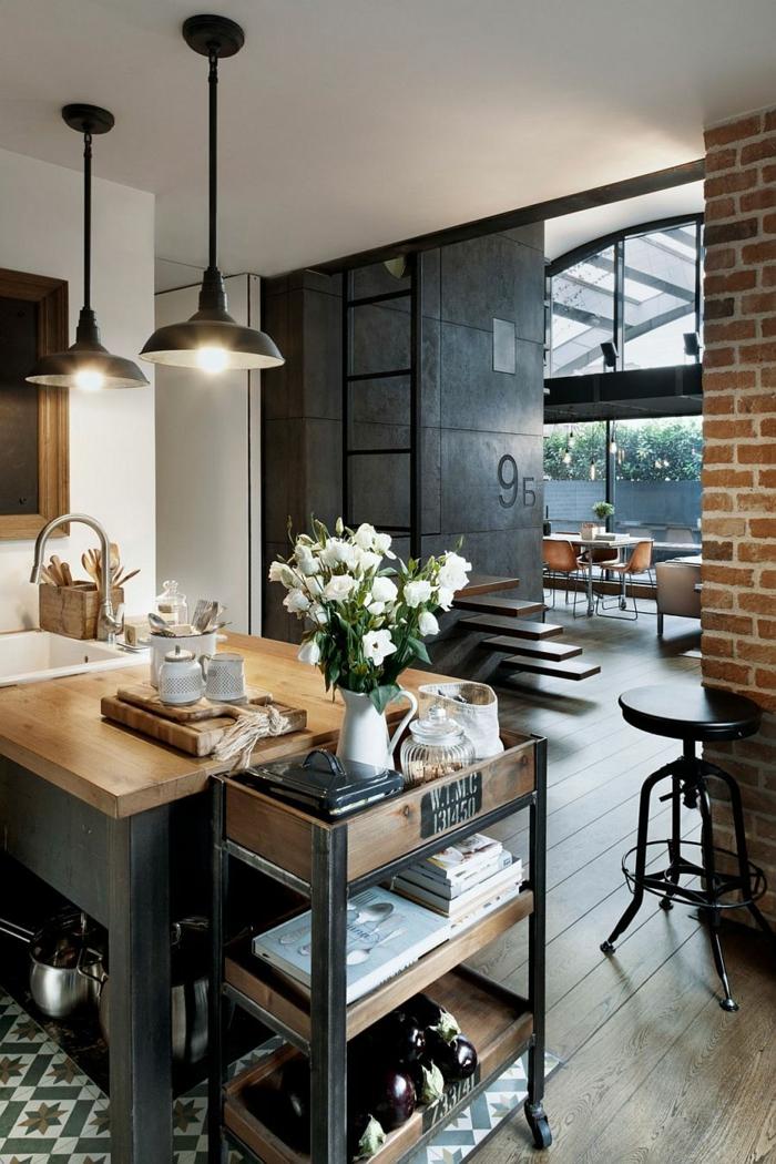 design leuchten pendelleuchten kücheninsel industriell wohnideen küche