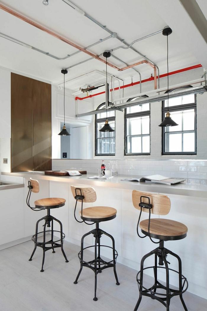 design leuchten wohnideen küche industrielle pendelleuchten