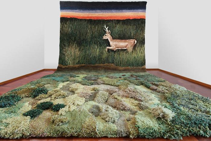 designer teppich indoor garten natur wiese rehbock teppichläufer