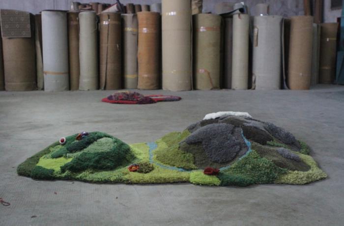 designer teppich indoor garten naturlandschaft hügel fluss teppichläufer