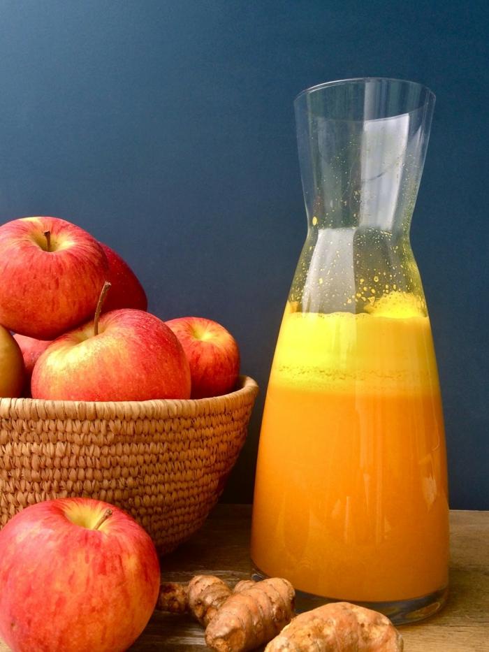 detox kur gesund abnehmen frische säfte apfelsaft ingwer