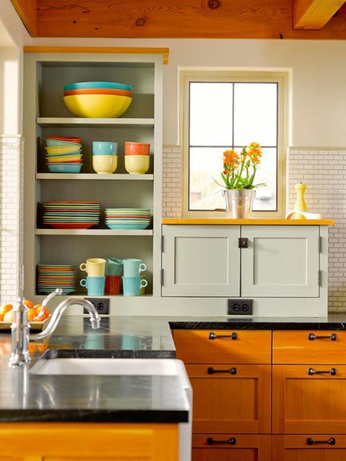 einrichtungsideen küche stauraum ideen ofene regale farbige platten
