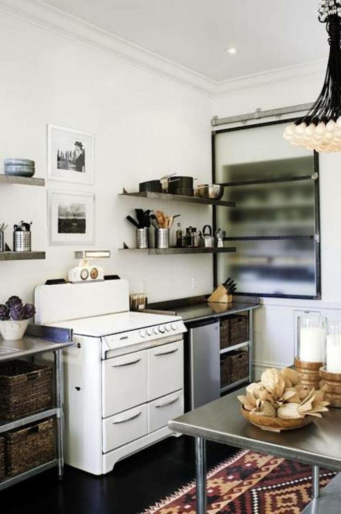 einrichtungsideen stauraum küche teppich offene regale