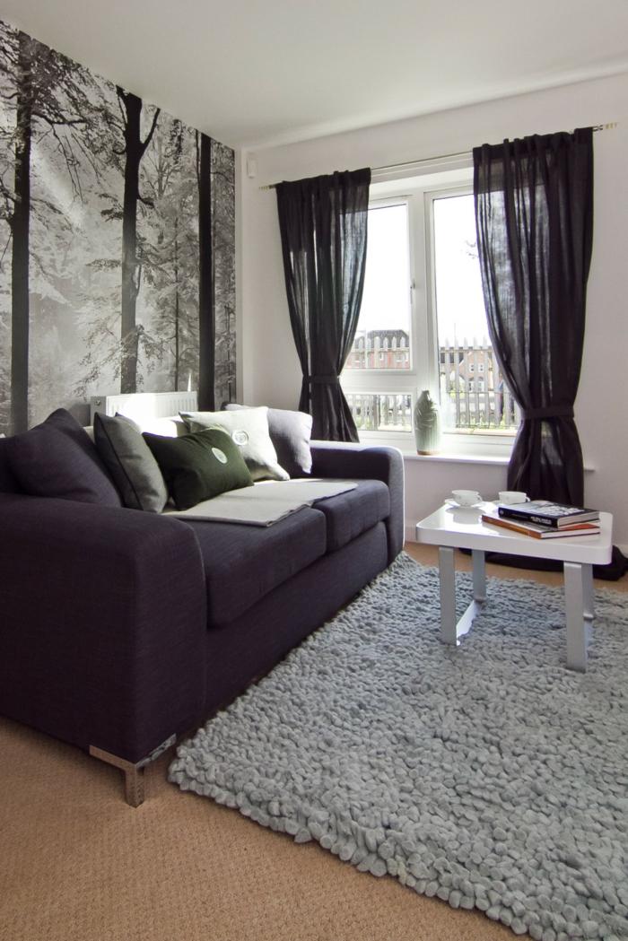 schöne wohnideen wohnzimmer grauer teppich schwarze gardinen