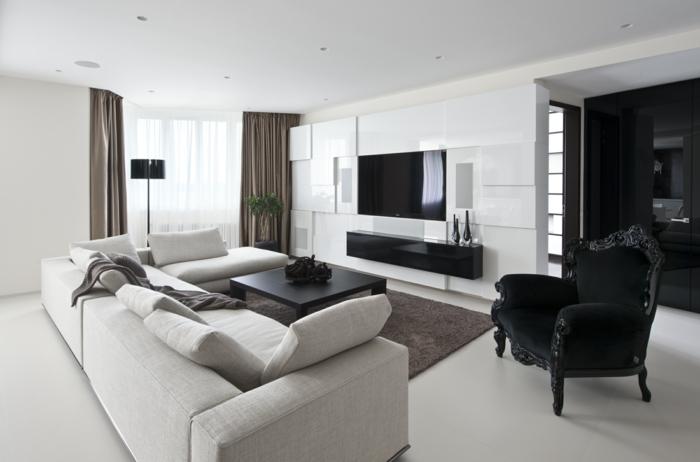 einrichtungsideen wohnideen wohnzimmer weißes sofa schwarze elemente