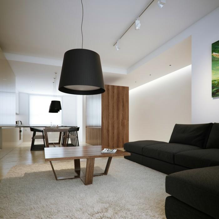 einrichtungsideen wohnzimmer schwarzes ecksofa weißer teppich