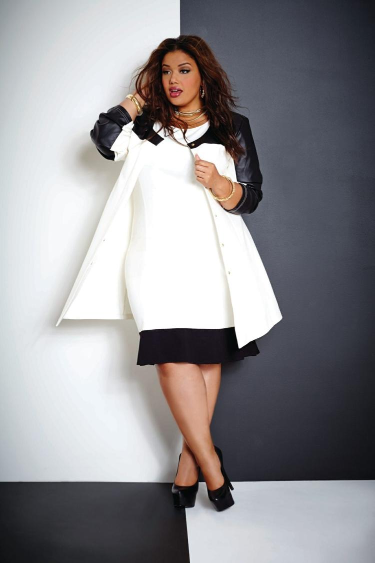 elegante Kleider in großen Größen schwarz weiß