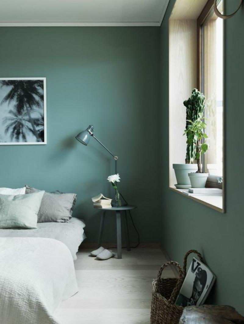 entspannende Wandfarben Ideen dunkelgrüne Wände streichen Farbideen