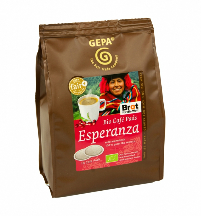 fair trade kaffee bio arabica cafe pads esperanza gepa shop