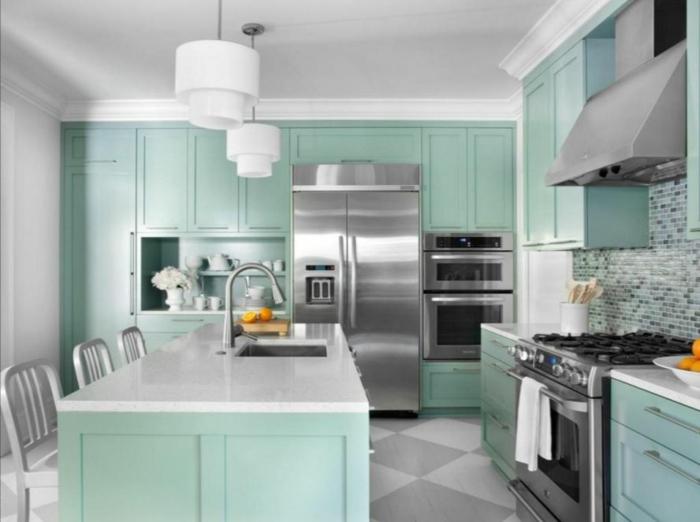 farbgestaltung küche gelbe küche einbauküche minz grün