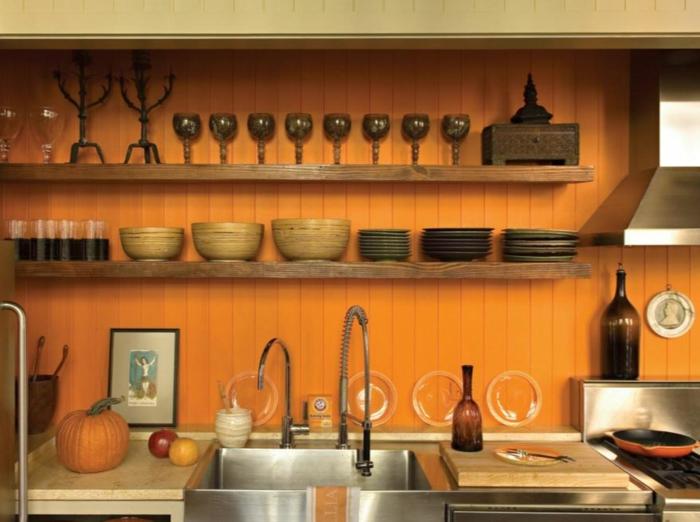 farbgestaltung küche gelbe küche einbauküche orange