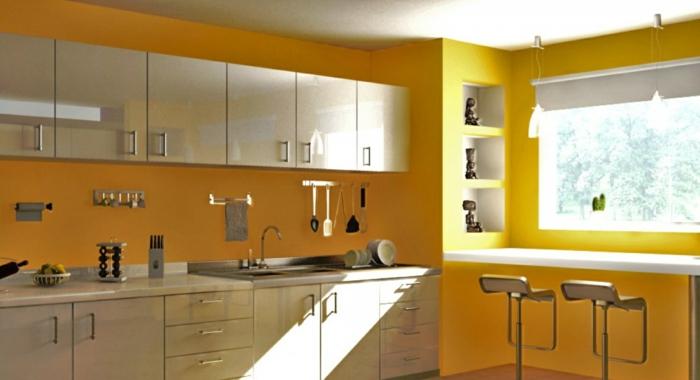farbgestaltung küche gelbe küche einbauküche