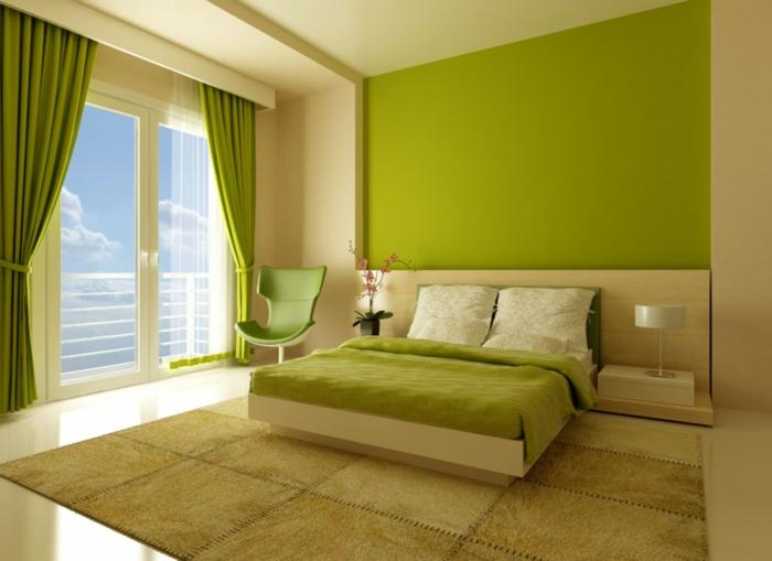 farbgestaltung schlafzimmer wandgestaltung wanddesign apfelgrün