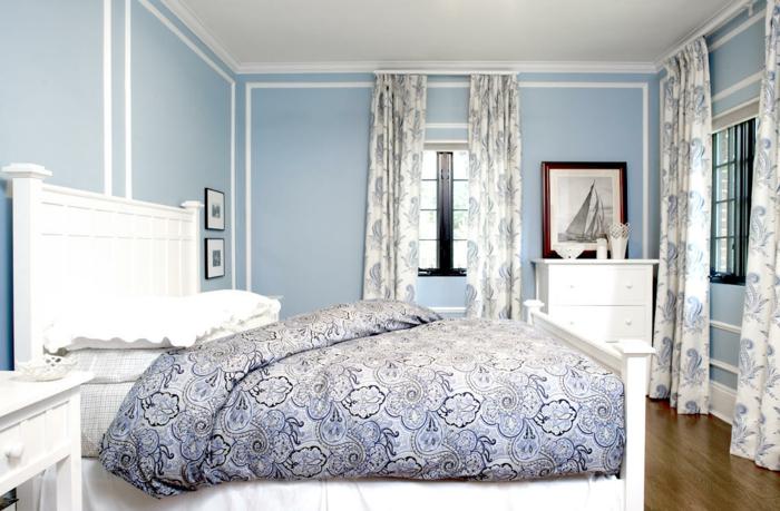 farbgestaltung schlafzimmer wandgestaltung wanddesign babyblau