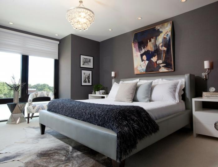 farbgestaltung schlafzimmer wandgestaltung wanddesign mokka braun