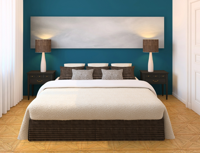 farbgestaltung schlafzimmer wandgestaltung wanddesign petrol blau