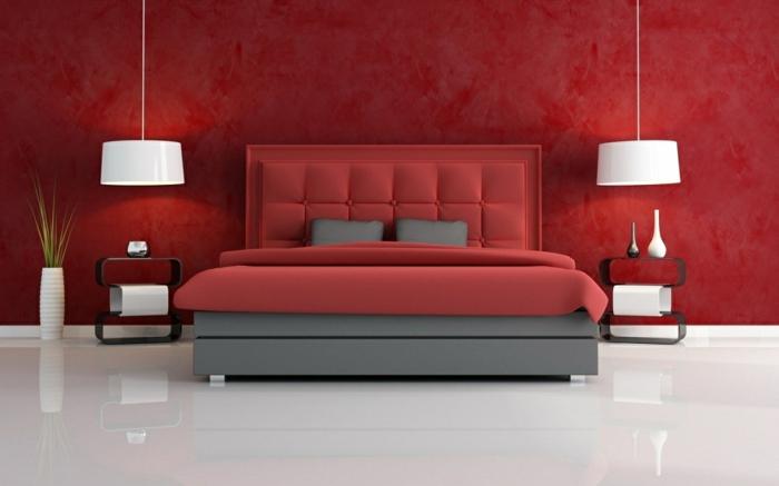 farbgestaltung schlafzimmer wandgestaltung wanddesign rot