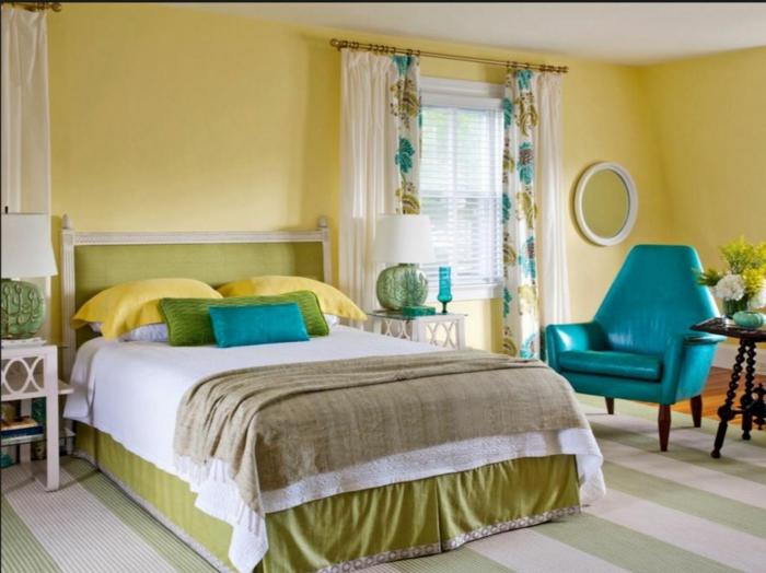 farbgestaltung schlafzimmer wandgestaltung wanddesign samt gelb blau