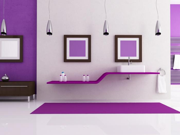 farbgestaltung wandgestaltung wanddesign badezimmer lila