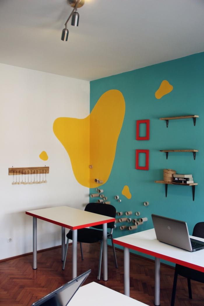 farbgestaltung wohnzimmer wandgestaltung wanddesign büro friedlich