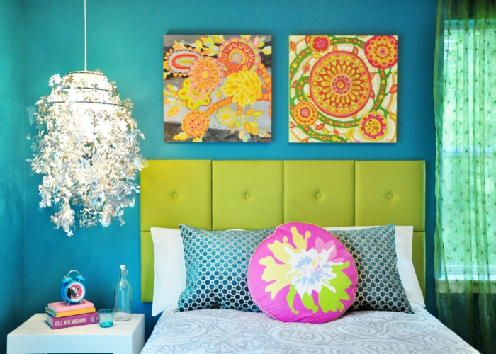 farbgestaltung wohnzimmer wandgestaltung wanddesign blau frisch grün