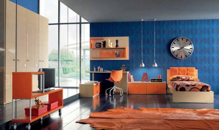 farbgestaltung wohnzimmer wandgestaltung wanddesign blau orange 70er