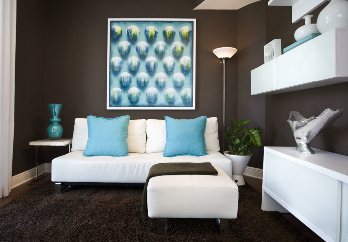 101 beispiele für farbgestaltung und farbwirkung im raum - Wohnzimmer Braun Petrol