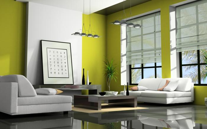 farbgestaltung wohnzimmer wandgestaltun wanddesign gün weiß