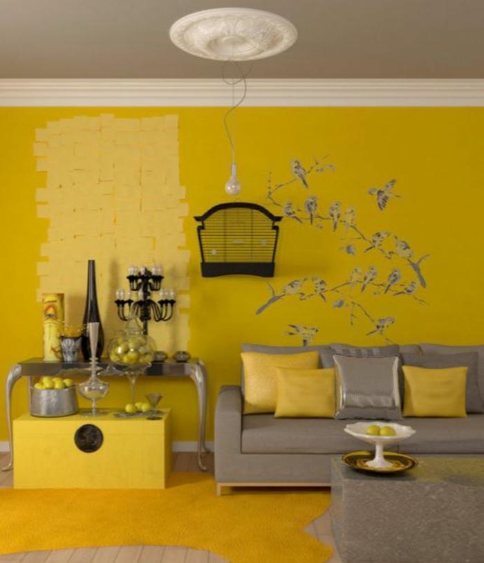 farbgestaltung wohnzimmer wandgestaltung wanddesign gelb stufen