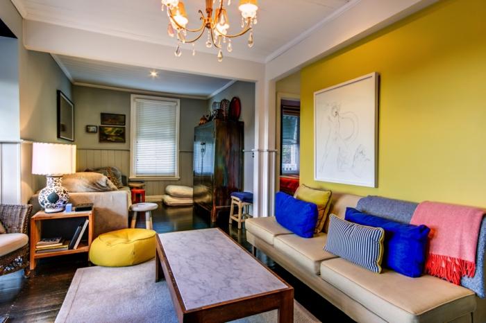 ... :farbgestaltung wohnzimmer wandgestaltung wanddesign gelb wand