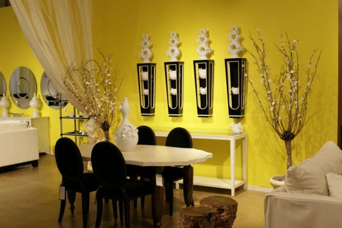 farbgestaltung wohnzimmer wandgestaltung wanddesign gelb