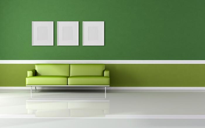 farbgestaltung wohnzimmer wandgestaltung wanddesign grüne hell dunkel