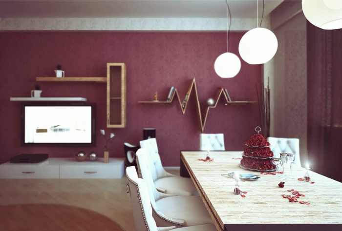 farbgestaltung wohnzimmer wandgestaltung wanddesign granatapfel rot