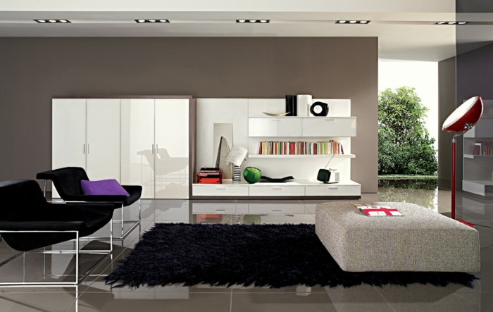 ... beispiele : farbgestaltung wohnzimmer wandgestaltung wanddesign grau